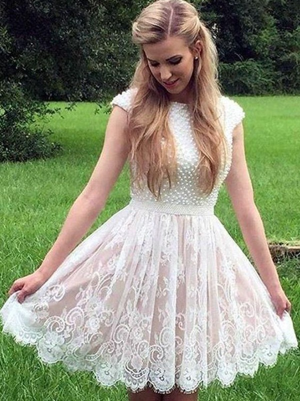 A-Line/Princess Short/Mini Sheer Neck Sleeveless Lace Pearls Dresses