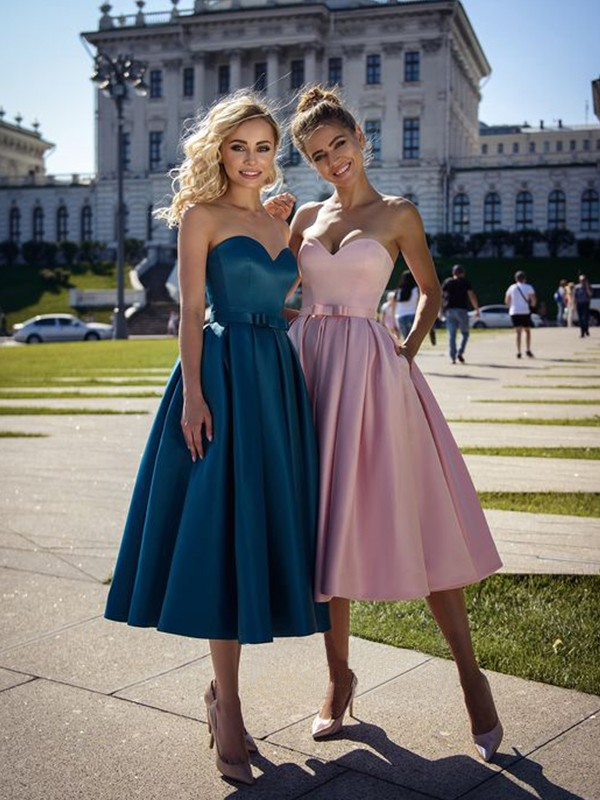 A-Line/Princess Tea-Length Sweetheart Sleeveless Satin Bowknot Dresses