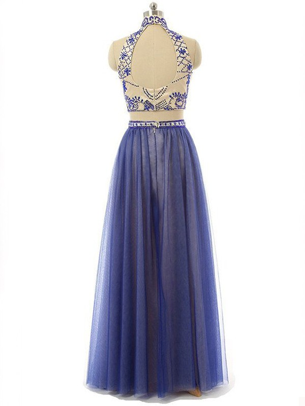 A-Line/Princess Sleeveless High Neck Chiffon Beading Floor-Length Two Piece Dresses