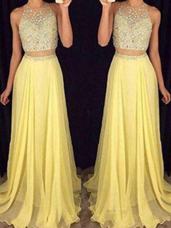 A-Line/Princess Scoop Sleeveless Floor-Length Beading Chiffon Two Piece Dresses