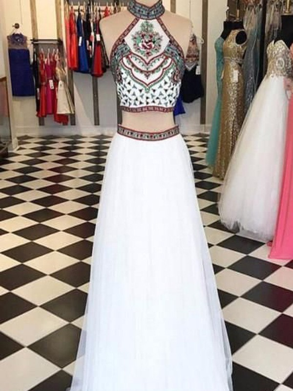 A-Line/Princess Halter Sleeveless Floor-Length Beading Net Two Piece Dresses