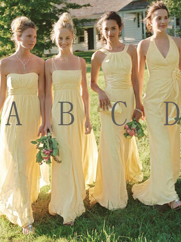 A-Line/Princess Sleeveless Floor-Length Chiffon Bridesmaid Dresses