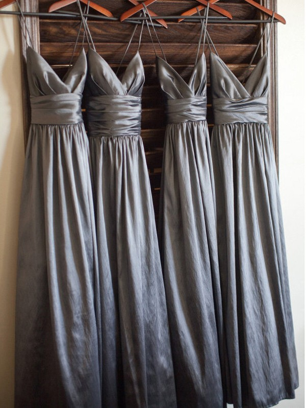 A-Line/Princess Spaghetti Straps Sleeveless Floor-Length Taffeta Bridesmaid Dresses