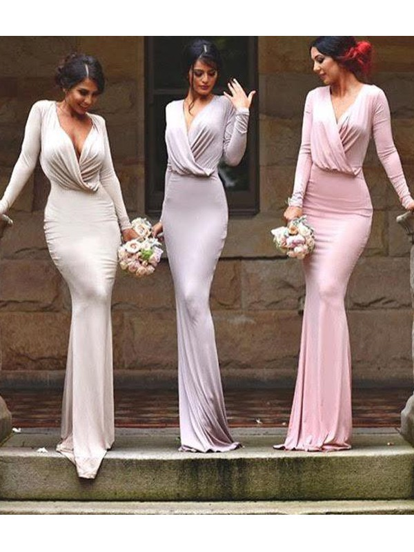 Sheath/Column V-neck Floor-Length Sleeveless Jersey Bridesmaid Dresses