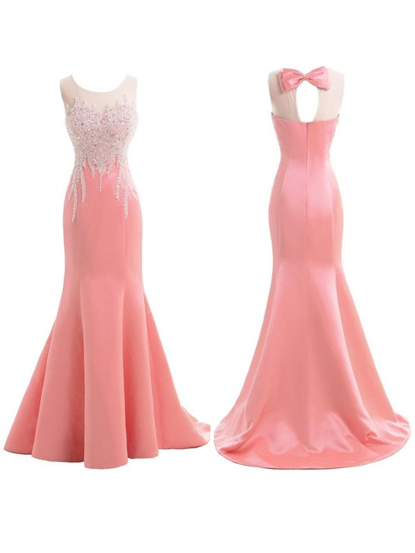 Trumpet/Mermaid Scoop Sleeveless Sweep/Brush Train Satin Beading Bridesmaid Dresses