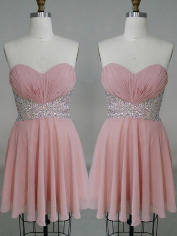 A-Line/Princess Sleeveless Sweetheart Beading Chiffon Short/Mini Dresses