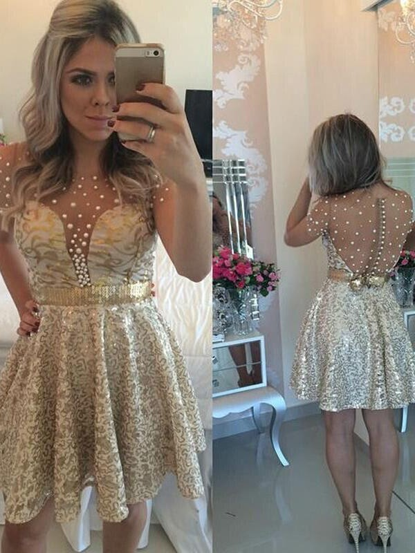 A-Line/Princess Sleeveless Scoop Sequin Satin Short/Mini Dresses