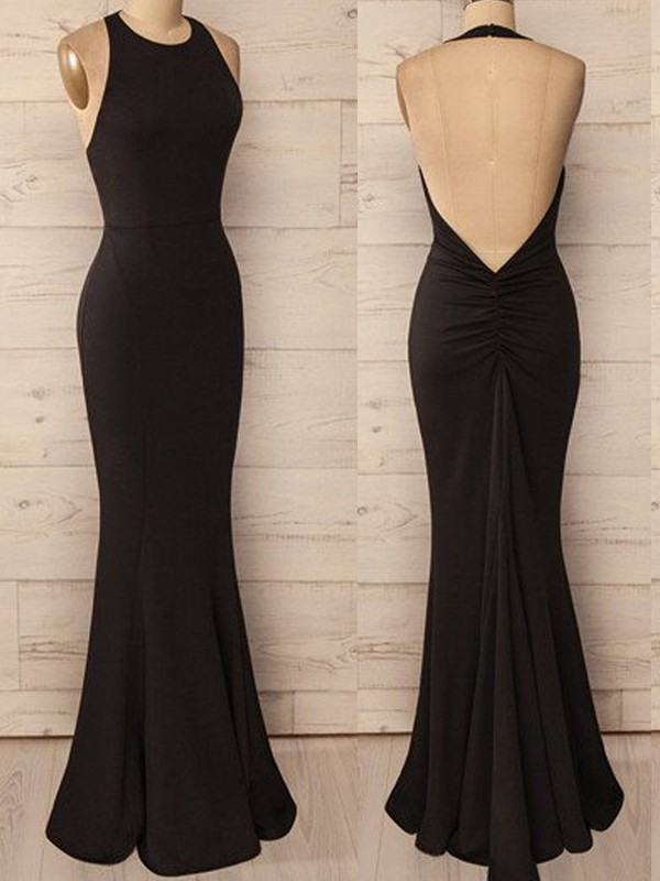 Trumpet/Mermaid Halter Sleeveless Floor-Length Spandex Dresses
