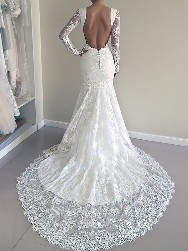 Mermaid Scoop Long Sleeves Court Train Lace Wedding Dresses