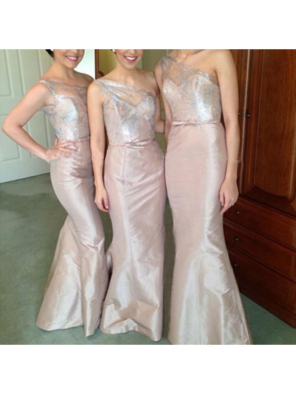 Mermaid One-Shoulder Sleeveless Satin Floor-Length Bridesmaid Dresses
