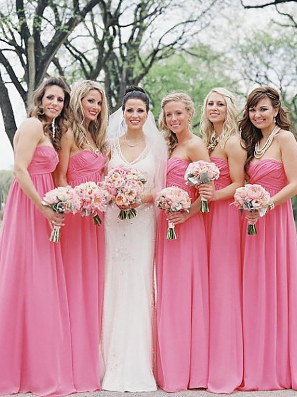 A-Line Sweetheart Chiffon Sleeveless Floor-Length Bridesmaid Dresses
