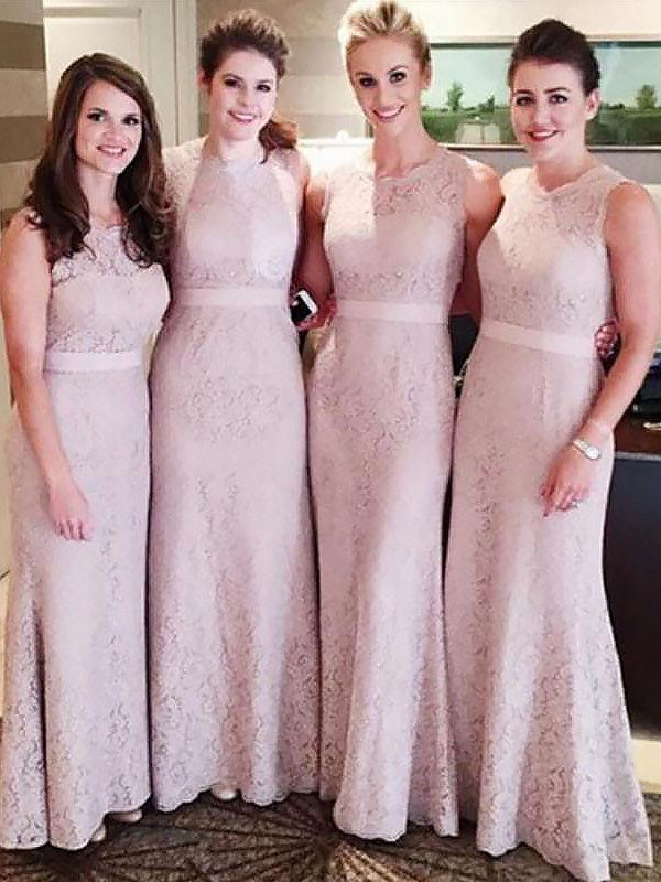 Sheath Lace Scoop Sleeveless Floor-Length Bridesmaid Dresses