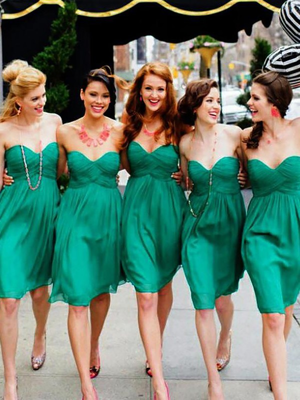 A-Line Sweetheart Chiffon Sleeveless Short/Mini Bridesmaid Dresses
