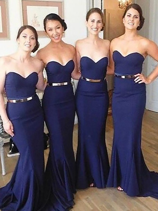 Mermaid Sweetheart Sweep/Brush Train Sleeveless Satin Bridesmaid Dresses