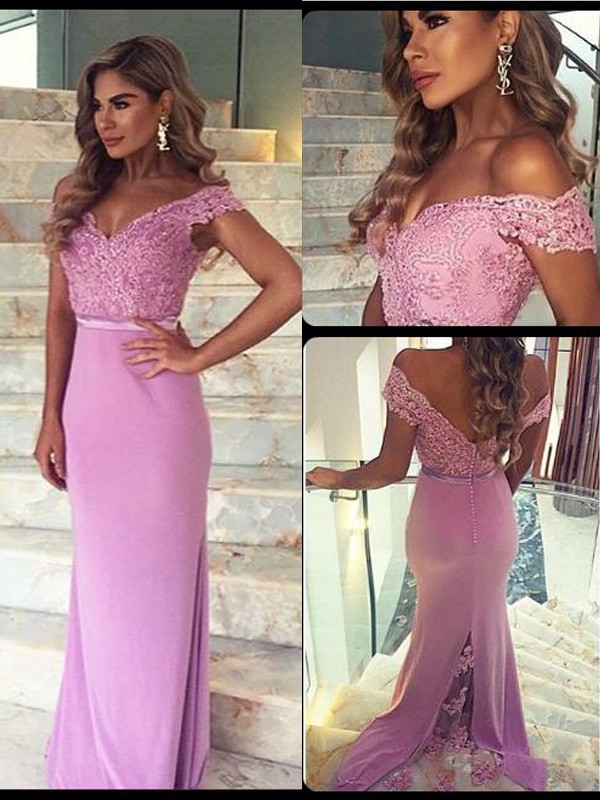 Sheath/Column Off-the-Shoulder Sleeveless Lace Floor-Length Satin Dresses