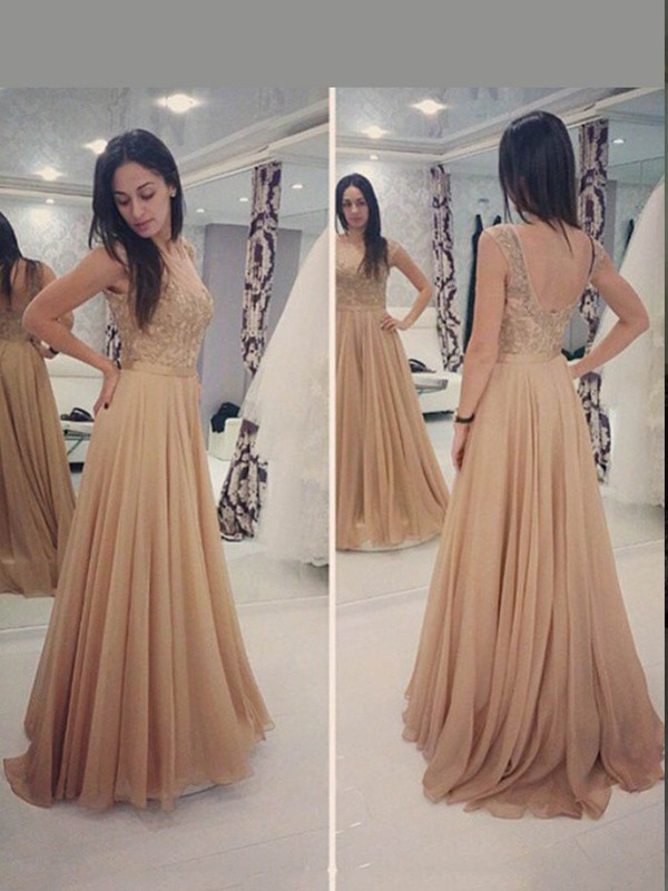 A-Line/Princess Scoop Sleeveless Applique Floor-Length Chiffon Dresses