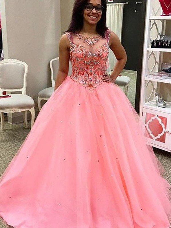 Ball Gown Sweetheart Sleeveless Tulle Beading Floor-Length Dresses