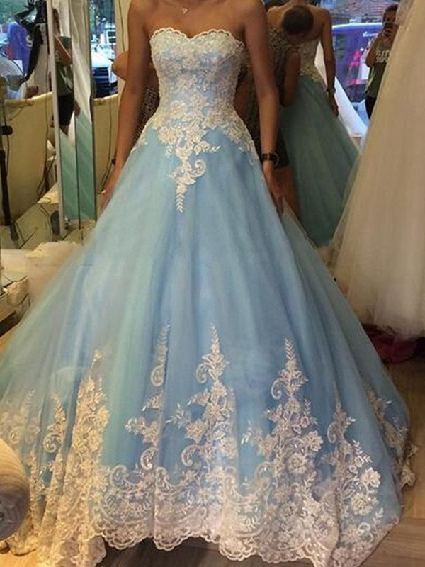 Ball Gown Sweetheart Applique Sleeveless Tulle Floor-Length Dresses