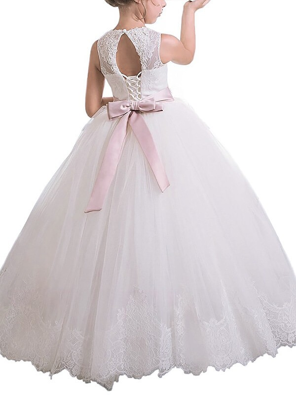 Ball Gown Scoop Sleeveless Sash/Ribbon/Belt Floor-Length Tulle Flower Girl Dresses