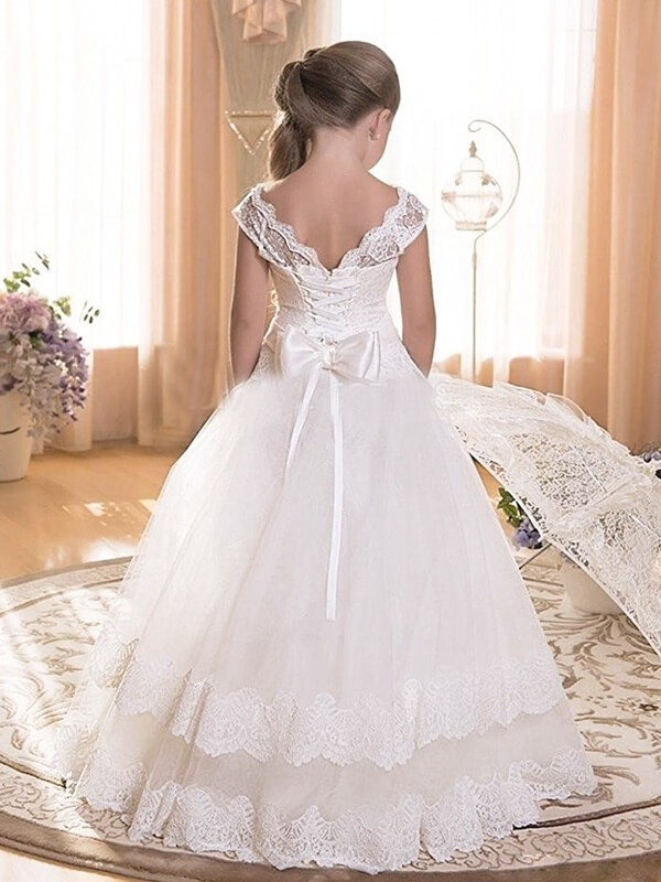 A-line/Princess Scoop Sleeveless Sash/Ribbon/Belt Tulle Floor-Length Flower Girl Dresses