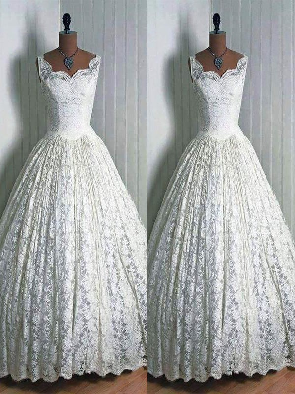 Ball Gown Lace Sweetheart Floor-Length Sleeveless Wedding Dresses