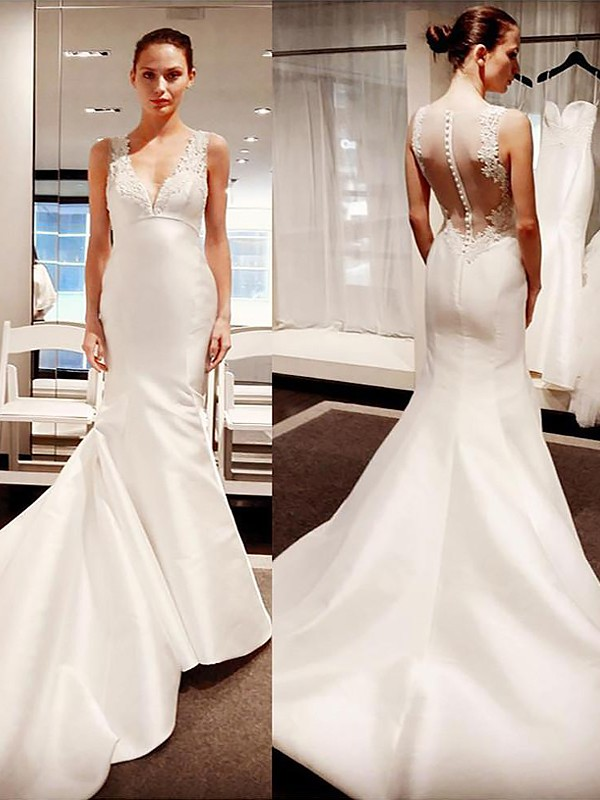 Mermaid V-neck Court Train Satin Sleeveless Wedding Dresses