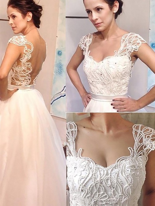 A-Line Sweetheart Sweep/Brush Train Tulle Sleeveless Wedding Dresses