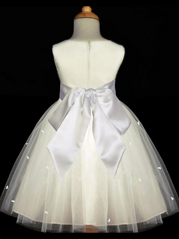 A-line Scoop Sleeveless Hand-made Flower Ankle-length Tulle Flower Girl Dress