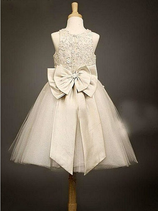 A-line Scoop Sleeveless Bowknot Tea-Length Organza Flower Girl Dress