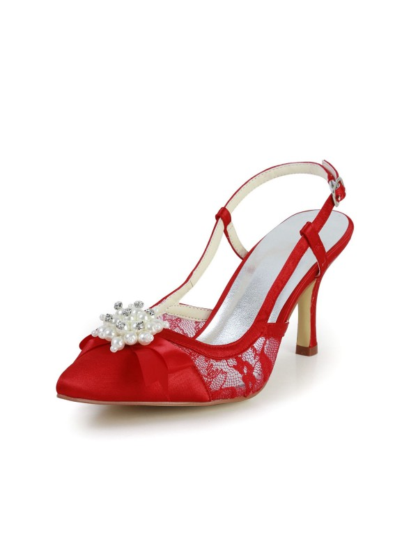 Women's Pretty Satin Stiletto Heel Sandals Closed Toe With Pearl Red Wedding Shoes