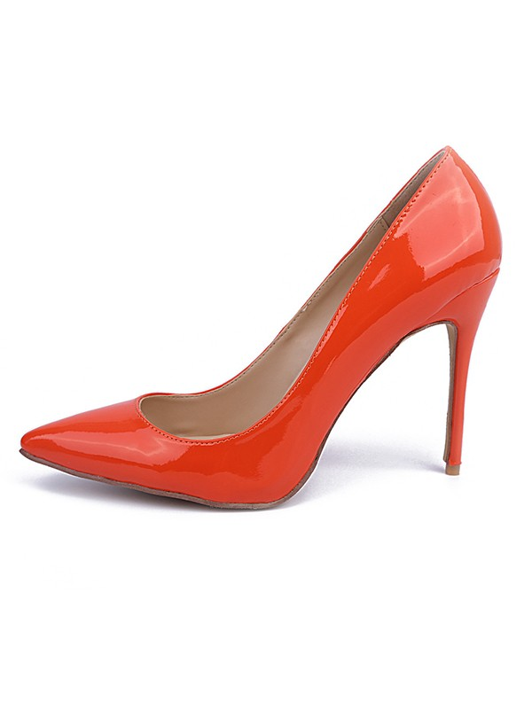 Women's Orange Patent Leather Closed Toe Stiletto Heel High Heels