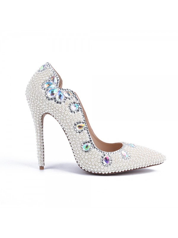 Women's Stiletto Heel Patent Leather Closed Toe With Pearl White Wedding Shoes