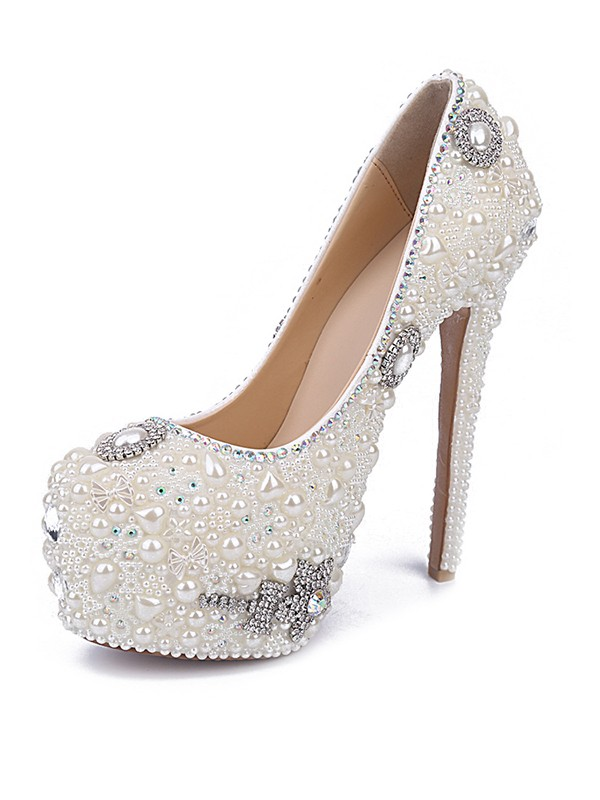 Women's Stiletto Heel Patent Leather Closed Toe With Pearl Rhinestone White Shoes