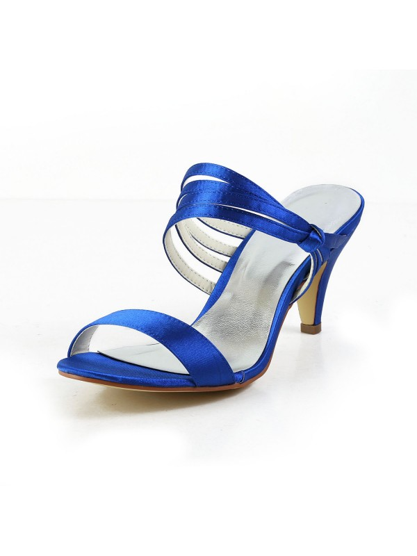 Women's Satin Cone Heel Peep Toe Pumps Sandals Shoes