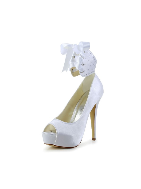 Women's Satin Peep Toe Stiletto Heel With Bowknot White Wedding Shoes