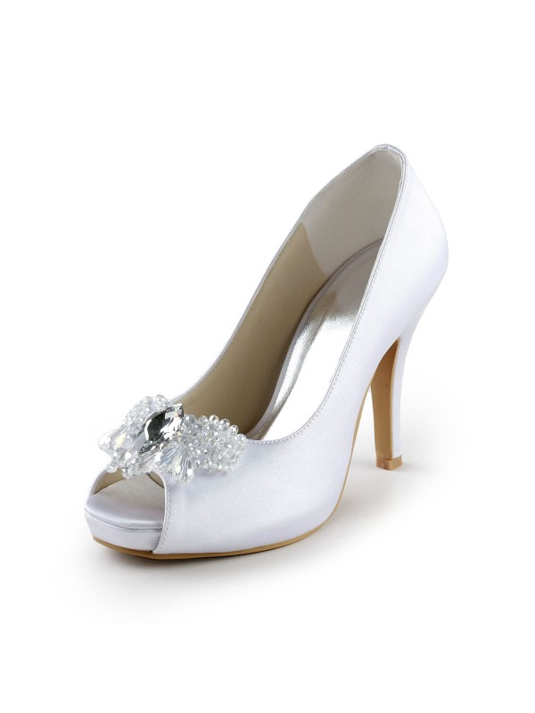 Women's Satin Upper Stiletto Heel Peep Toe Pumps with Rhinestone White Wedding Shoes