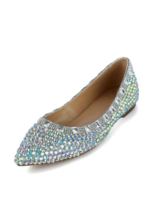 Women's Flat Heel Patent Leather Closed Toe With Rhinestone Flat Shoes