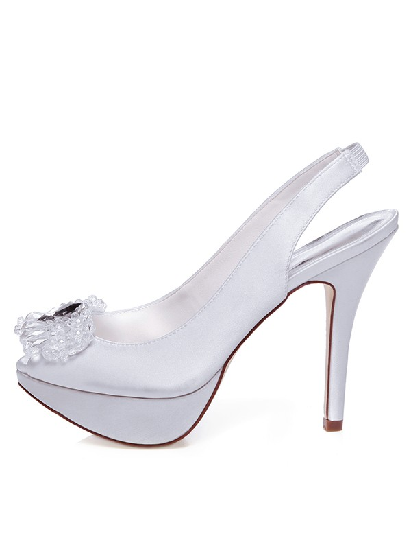 Women's Satin Peep Toe Stiletto Heel Rhinestones Wedding Shoes