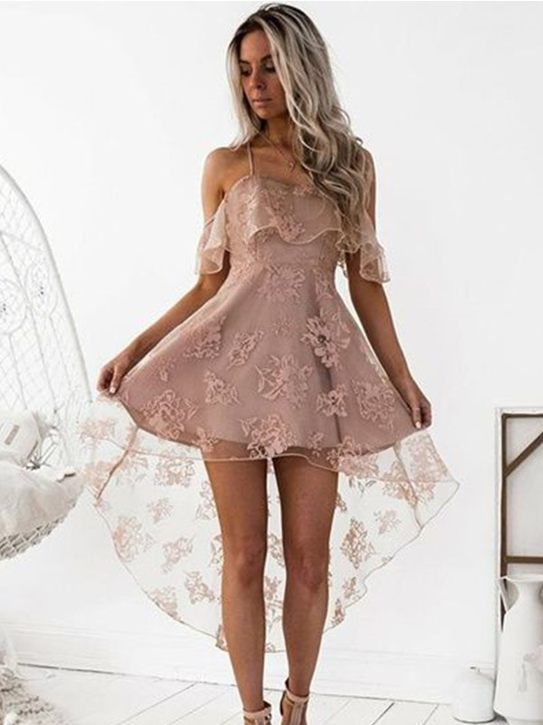 A-Line Off-the-Shoulder Lace Satin Short/Mini Dress