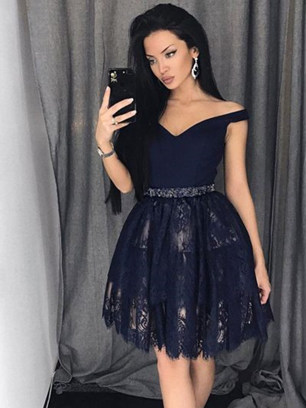 A-Line Sleeveless Satin Lace Off-the-Shoulder Short/Mini Dress