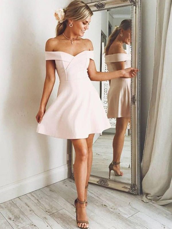 A-Line Off-the-Shoulder Sleeveless Satin Short/Mini Dress