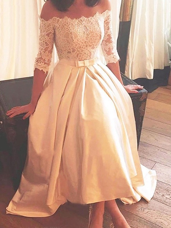 A-Line Off-the-Shoulder Asymmetrical Sweep/Brush Train 1/2 Sleeves Lace Satin Wedding Dress