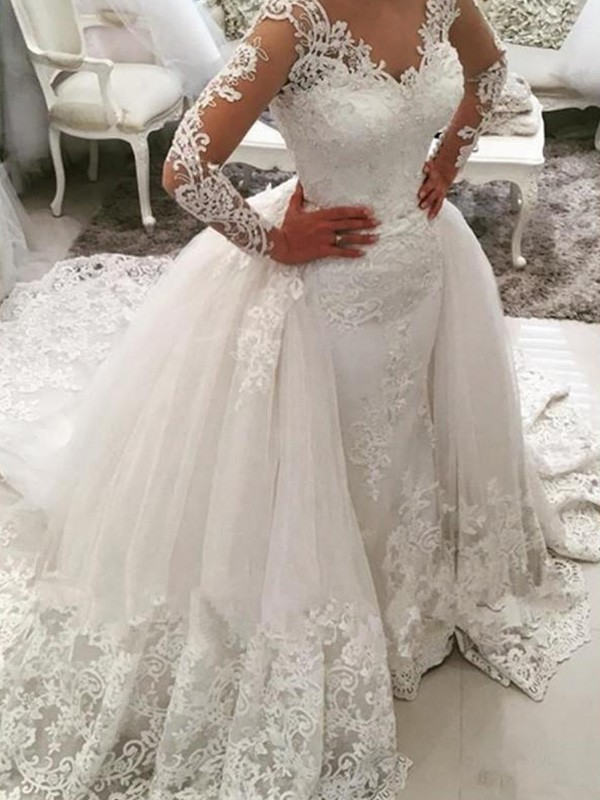 Ball Gown V-neck Long Sleeves Cathedral Train Lace Tulle Wedding Dress