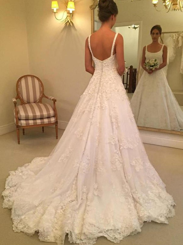 A-Line Sleeveless Straps Square Court Train Lace Wedding Dress