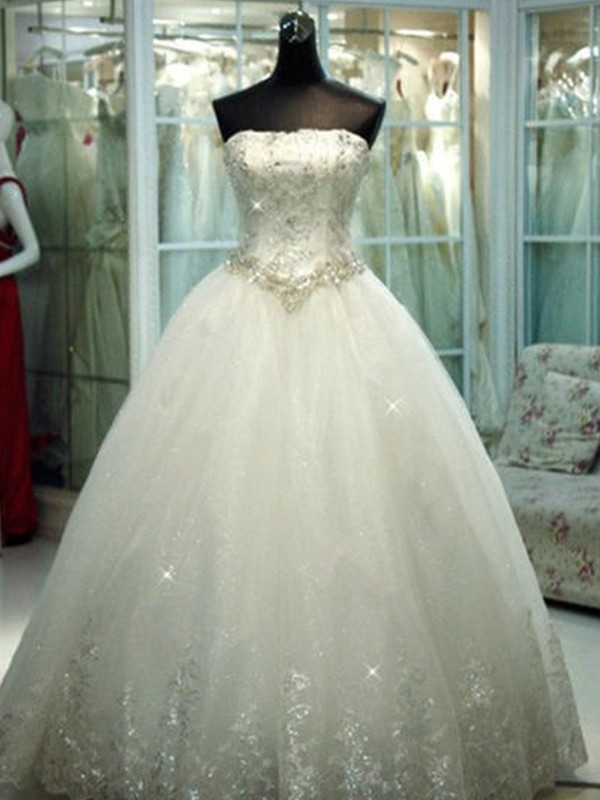 Ball Gown Strapless Tulle Sleeveless Floor-Length Wedding Dress