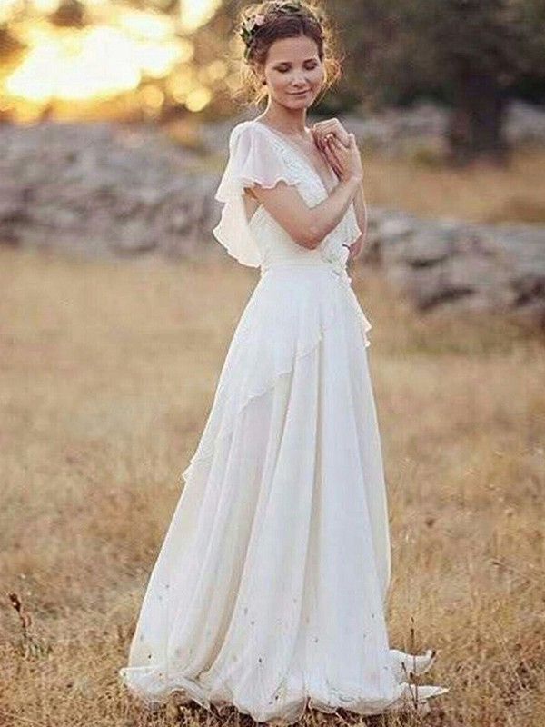 A-Line Chiffon V-neck Short Sleeves Floor-Length Wedding Dress