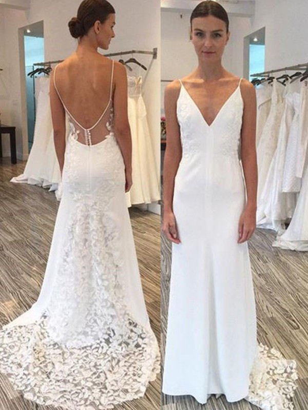 Sheath Satin Lace Spaghetti Straps Sleeveless Sweep/Brush Train Wedding Dress