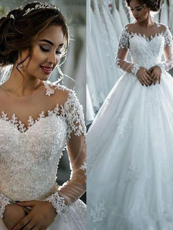 Ball Gown Tulle Scoop Long Sleeves Chapel Train Wedding Dress