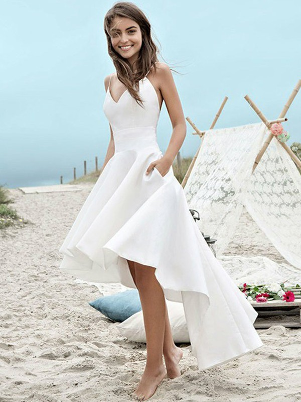 A-Line Satin Sleeveless Spaghetti Straps Asymmetrical Wedding Dress
