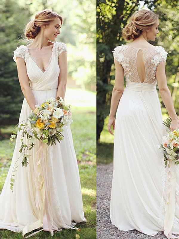 A-Line Chiffon V-neck Short Sleeves Sweep/Brush Train Wedding Dress